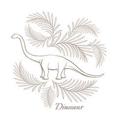 Huge herbivorous dinosaur surrounded with palm vector