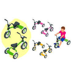 Isometric children s tricycle isolated on white vector
