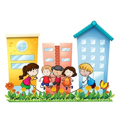 Kids playing outside the building vector image