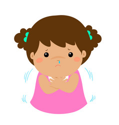little girl with a cold shivering cartoon xa vector image