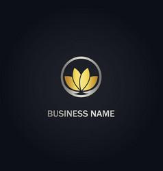 lotus flower nature gold logo vector image