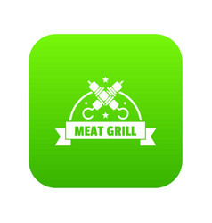 meat grill icon green vector image