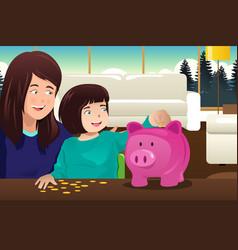 Mother daughter saving money to a piggybank vector