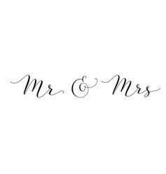 mr and mrs words with ampersand mister and missis vector image