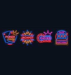 neon casino banners slot machine playing cards vector image