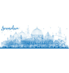 Outline jerusalem skyline with blue buildings vector