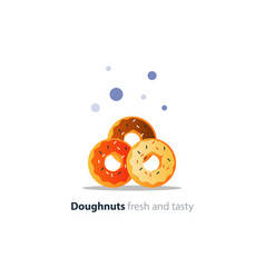 pile of donuts tasty doughnuts with different vector image