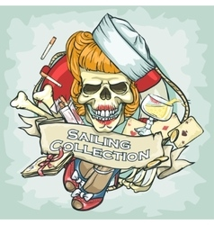 Pin Up Girl skull logo design - Sailing Collection vector image