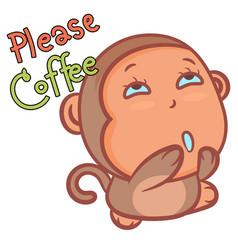 Please coffee little monkey cartoon on a white vector