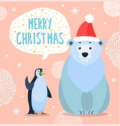 polar bear and emperor penguin greeting card vector image