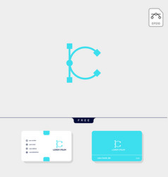 premium initial c logo template and business card vector image