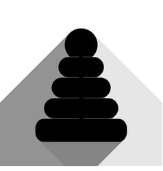 pyramid sign black icon with vector image