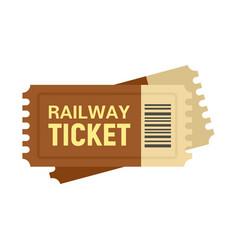 Railway ticket icon flat style vector