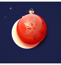 Red Christmas ball greeting card vector