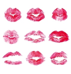 Red lips kisses prints elements vector image