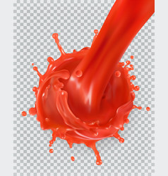 red paint splash tomato strawberries 3d realism vector image