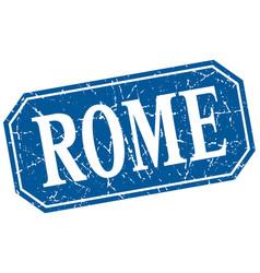 Rome blue square grunge retro style sign vector