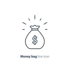 sack money finance saving award prize mono line vector image