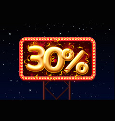 sale 30 off ballon number on night sky vector image
