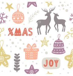 scandinavian christmas doodles seamless pattern vector image
