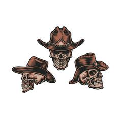 set cowboy skull vector image