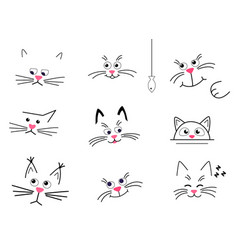 Set faces cute cats on a white background vector