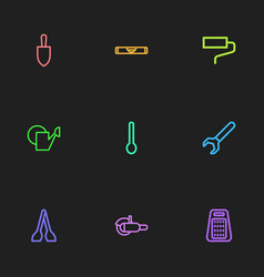 Set of 9 editable equipment outline icons vector