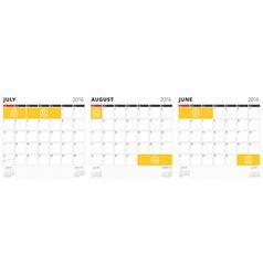 Set of calendar templates for june july august vector