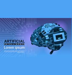 Shape modern brain cyborg mechanism over vector