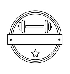 silhouette circular border with dumbbell for vector image