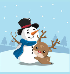 snowman and deer vector image