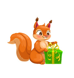 Squirrel animal with gift box cartoon character vector