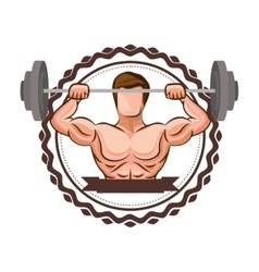 Sticker border with muscle man lifting a disc vector