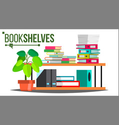 Storage shelves document book colored vector