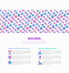 success concept with thin line icons vector image