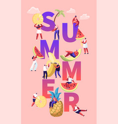 summer season concept tiny characters in swimwear vector image