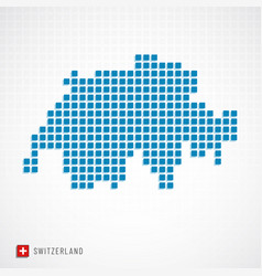 switzerland map and flag icon vector image