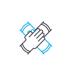 teamwork thin line stroke icon teamwork vector image