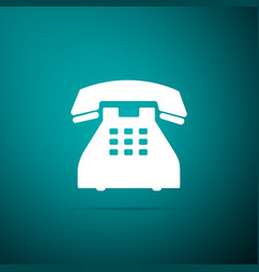 telephone icon isolated on green background vector image