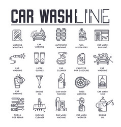 Thin line 24 7 working car wash with different vector
