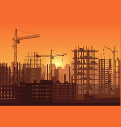 tower cranes on construction site in sunset vector image