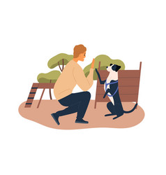 Trainer teaching dog at agility courses high five vector