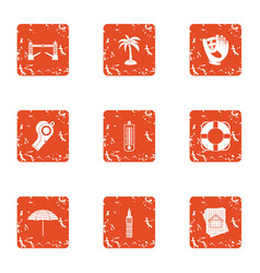 Travel binge icons set grunge style vector