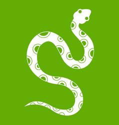 Venomous snake icon green vector