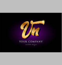 vn v n 3d gold golden alphabet letter metal logo vector image