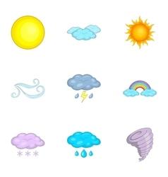 Weather forecast icons set cartoon style vector
