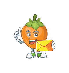 With envelope persimmon cartoon character isolated vector