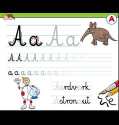 Writting letter a worksheet for children vector