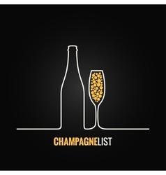 champagne glass bottle menu background vector image