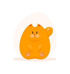 Cute fatty ginger cat vector